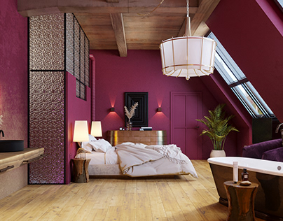concept of a hotel room on the attic floor