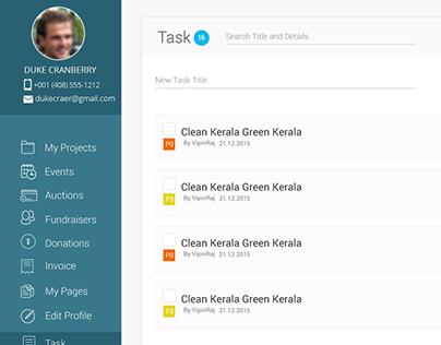 User Dashboard Task creation