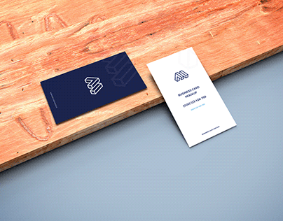 Business Cards on Wooden Plank Mockup