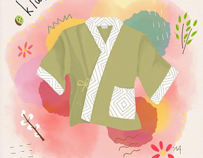 Kimono illustrations for Kama x Talullah