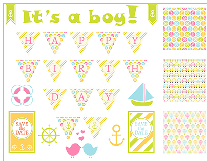 Sets of birthday card for girls and boys.