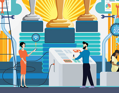 2020 Customer Service Awards Mural Illustration