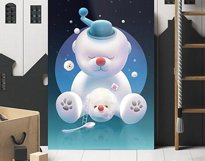 Bichon Ice Shaver   Wall Art   Kids Room   Nursery