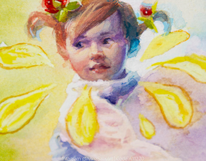 Watercolor + white gouache girl portrait painting