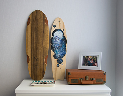 Collaboration - Painted skate - Jellyfish