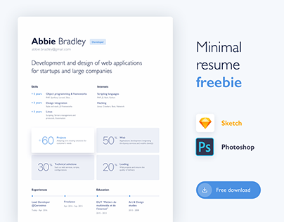 Minimal resume freebie | Sketch & PSD