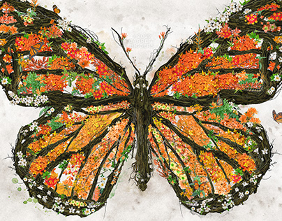 Monarch Butterfly digital collage photomanipulation art