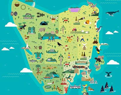 TASMANIA ILLUSTRATED MAP