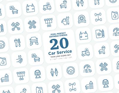 Car Service 20 Pixel Perfect Editable Stroke Icons Set