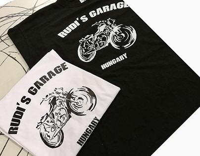 Rudi's Garage póló design