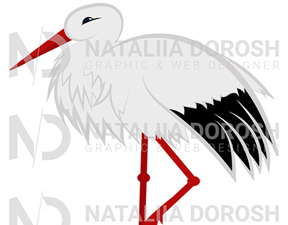 A smiling stork in vector.