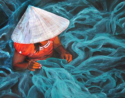 Vietnamese woman (acrylic)