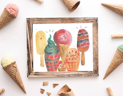 Watercolor illustration. Happy ice cream.