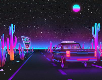 ✨ Vaporwave Desert Road ✨