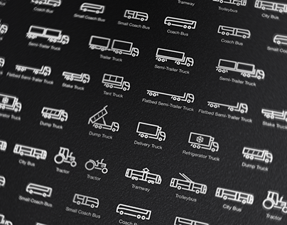 Trucks & Buses (and a couple of tractors too) icons