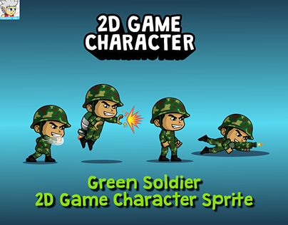 Green Soldier 2D Game Character Sprite