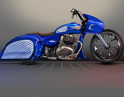 RE Interceptor Bagger Concept to custom bike