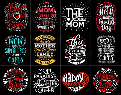 Creative typography Mother's day t shirt design bundle