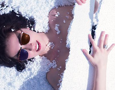Girl in styrofoam