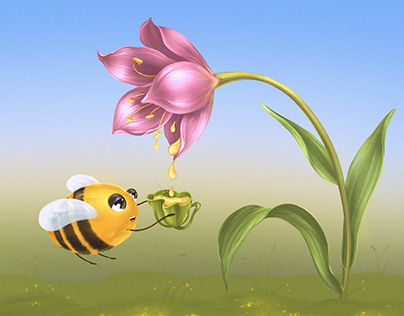 "Illustration ""The secret of Tulip and herbal tea"""