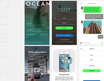OCEAN | Mobile UI KIt 2016 (FREE PSD)