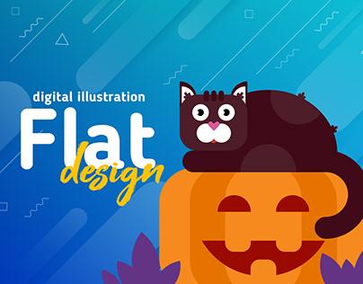 Flat Design Halloween Digital Illustration