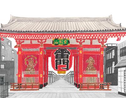 Kaminari-mon gate of Asakusa