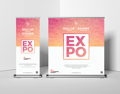 Free Expo Roll-Up Stand Banner Mockup