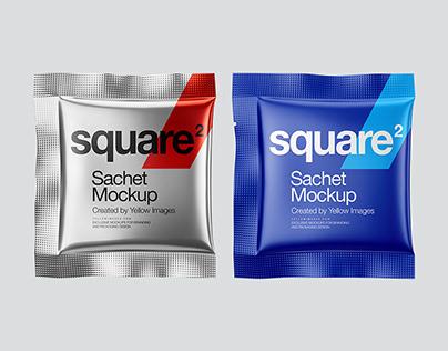 5 Square Sachets PSD Mockups