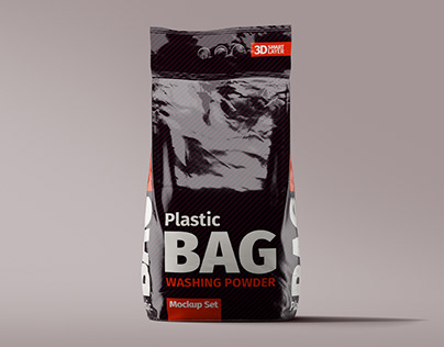 Plastic Bag Washing Powder Mockup Set