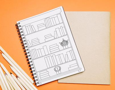 FREE CONTENT - Bookshelf bullet journal inspiration