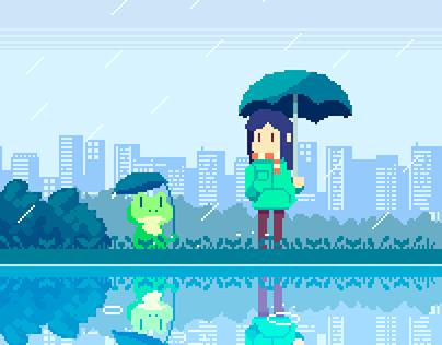 Rainy Day Pixel Art.