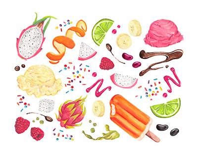 Watercolor Summer Snacks, Crazy Rumors Packaging