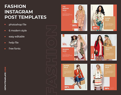 6 Fashion Store Instagram Post Design Templates