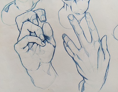Hands - Anatomy - Daily home practice - pencil sketches