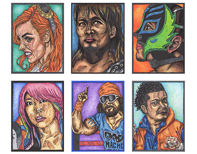 Wrestler Illustration Portrait Art Cards