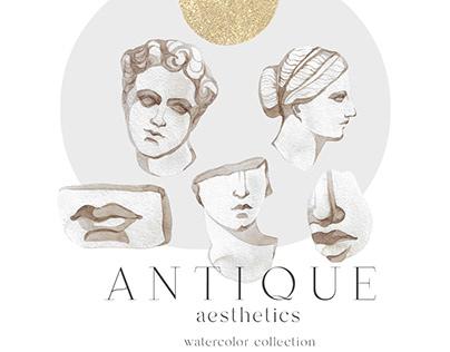 Antique aesthetics watercolor collection