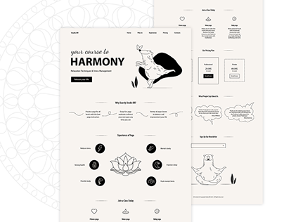 Black and white landing page for yoga studio