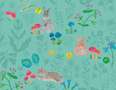 """Rabbits in Wonderland"" Pattern design for fabric"