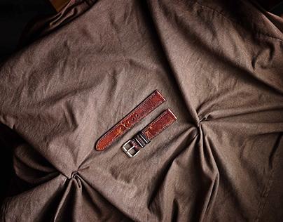 Dây da đồng hồ PIREND04 Da bò Nâu đỏ Size 20-22mm