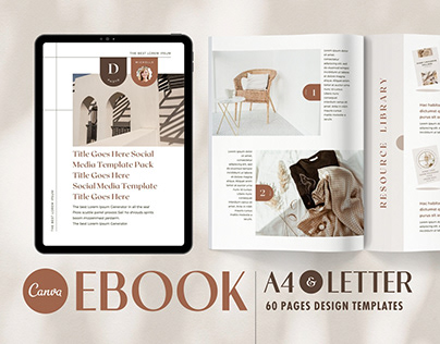 eBook PDF Template Canva Shadow - A4 & US Letter Pack