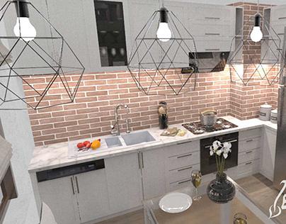 Interior and furniture design in apartment