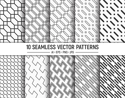 10 seamless diagonal stripes vector patterns