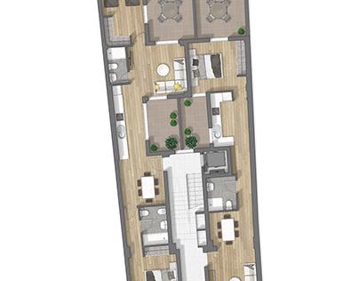Floor plan 2D rendeing in Sevilla