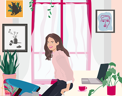 Illustration for the site. Girl in the room