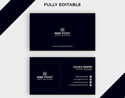 Dark Blue Clean Business Card Free Download