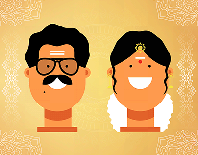 South Indian Couples - Flat Character Design