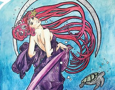 Mermaid. Inspired by Alphonse Mucha