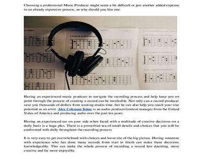Alex Coleman Kime - Advantages of a Music Producer