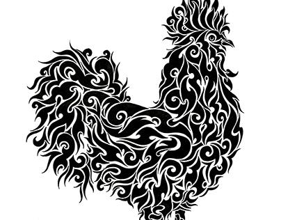 Chinese zodiac tribal illustration